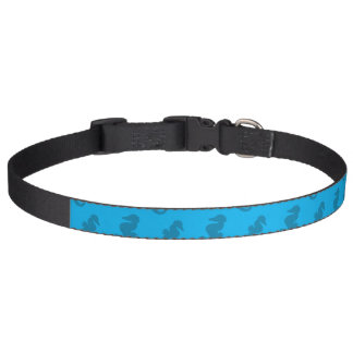 Sky blue seahorses pet collar