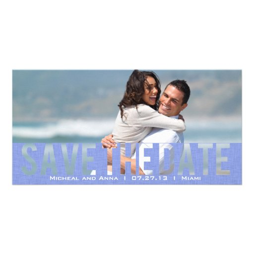 Sky  Blue  See Through Save the Date Card Personalized Photo Card