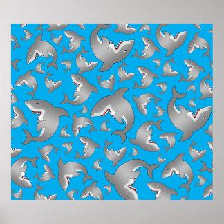 Sky blue shark pattern posters