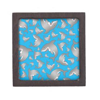 Sky blue shark pattern premium trinket box