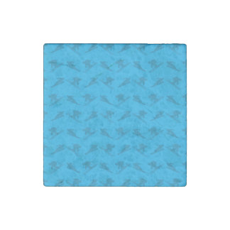 Sky blue ski pattern stone magnet