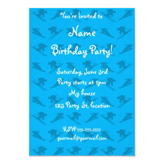 Sky blue ski pattern 5x7 paper invitation card