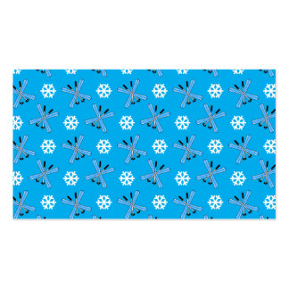 Sky blue skis and snowflakes pattern business card template