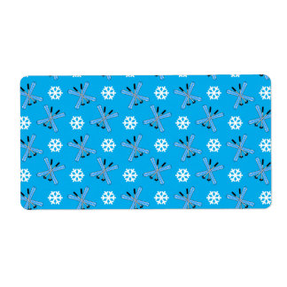 Sky blue skis and snowflakes pattern personalized shipping label
