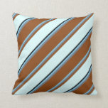 [ Thumbnail: Sky Blue, Slate Gray, Brown, Light Cyan, and Black Throw Pillow ]