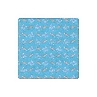 Sky blue snowboard pattern stone magnet