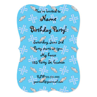 Sky blue snowboard pattern 5x7 paper invitation card