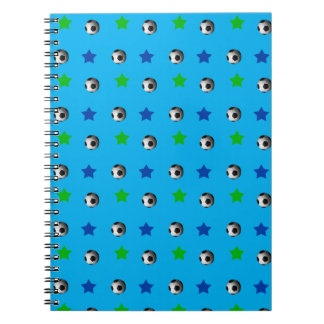 Sky blue soccer balls and stars spiral note book