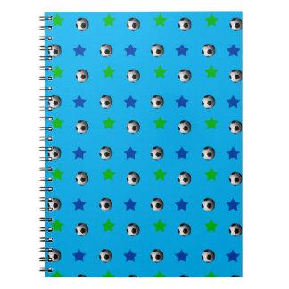 Sky blue soccer balls and stars spiral notebook