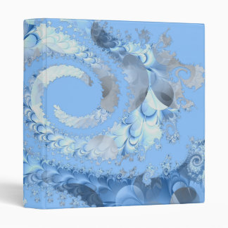 Sky Blue Spiral Fractal 3 Ring Binders