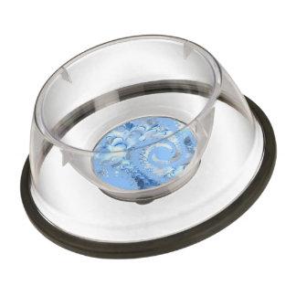 Sky Blue Spiral Fractal Pet Bowl
