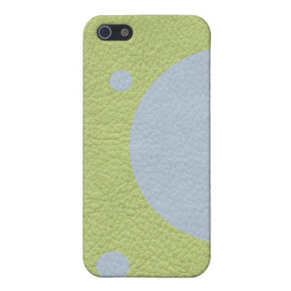 Sky Blue Spots on Lime Green Leather Case For iPhone SE/5/5s
