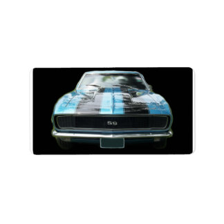 Sky blue SS Camaro with black stripes Custom Address Labels