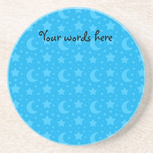 sky blue stars and moon patterns drink coasters