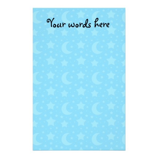 sky blue stars and moon patterns customized stationery