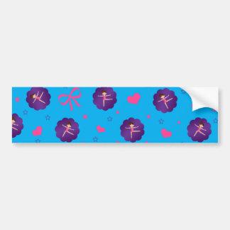 Sky blue stars hearts bows purple scallop gymnast car bumper sticker