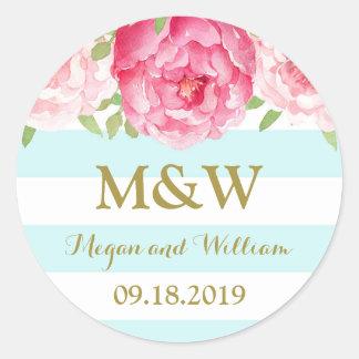 Sky Blue Stripes Floral Monogram Wedding Favor Tag