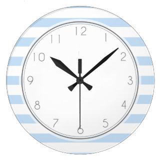Sky Blue Stripes Pattern Wall Clocks