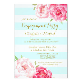 Sky Blue Stripes Pink Engagement Party Invitation