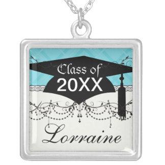 sky blue tartan plaid graduation grad personalized necklace