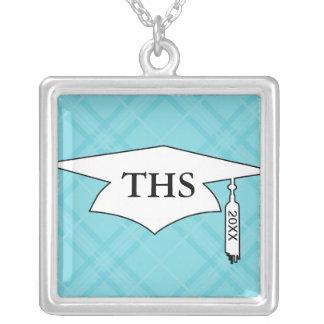 sky blue tartan plaid graduation grad square pendant necklace