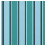 [ Thumbnail: Sky Blue, Teal, and Black Pattern of Stripes Fabric ]