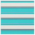 [ Thumbnail: Sky Blue, Teal, Dark Turquoise, White, and Black Fabric ]