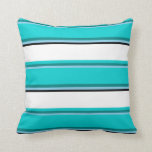 [ Thumbnail: Sky Blue, Teal, Dark Turquoise, White, and Black Throw Pillow ]
