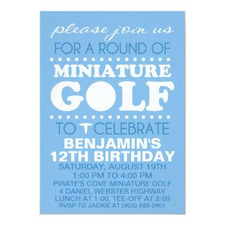 Sky Blue Tee Time Miniature Golf Birthday Party Card