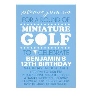 Sky Blue Tee Time Miniature Golf Birthday Party Custom Invites