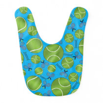 Sky blue tennis balls rackets and nets bib