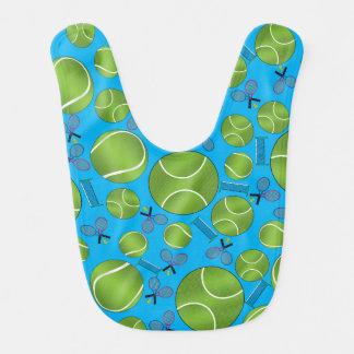 Sky blue tennis balls rackets and nets bib