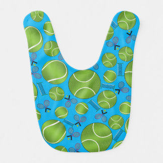 Sky blue tennis balls rackets and nets bibs