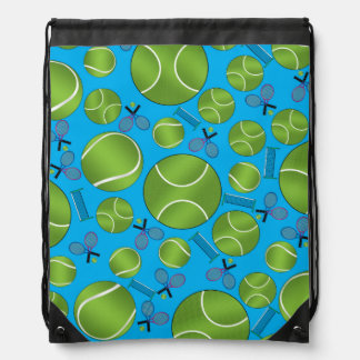Sky blue tennis balls rackets and nets drawstring backpack