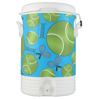 Sky blue tennis balls rackets and nets igloo beverage cooler