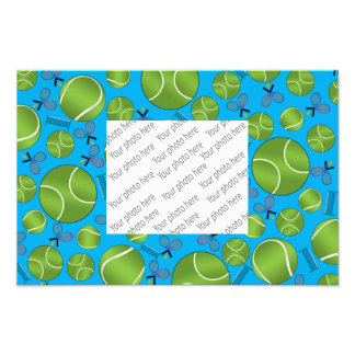 Sky blue tennis balls rackets and nets photographic print