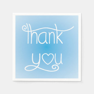 Sky Blue Thank You Heart Party Napkins
