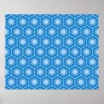 Sky Blue Tiled Hex Poster