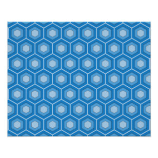 Sky Blue Tiled Hex Poster