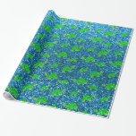 Sky blue turtle glitter pattern wrapping paper