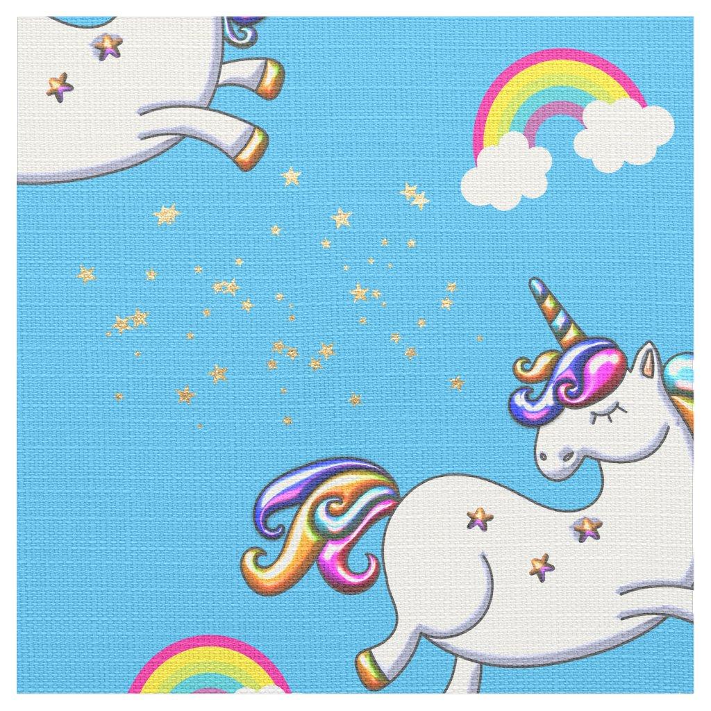 Sky Blue Unicorns, Gold Stars and Rainbow Fabric