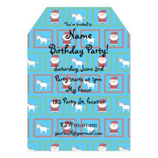 Sky blue unicorns santa claus pattern 5x7 paper invitation card