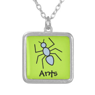 Sky Blue Vector Ant (Grass Green Background) Square Pendant Necklace