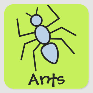 Sky Blue Vector Ant (Grass Green Background) Square Sticker