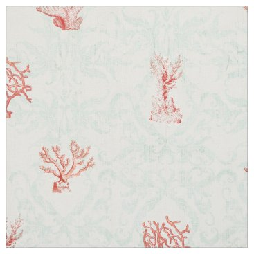 Beach Themed Sky Blue Vintage Beach Ocean Red Coral Damask Fabric
