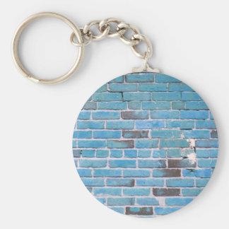 Sky Blue Vintage Brick Wall Texture Keychain