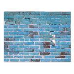 Sky Blue Vintage Brick Wall Texture Post Card