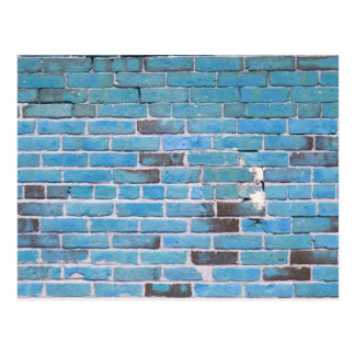 Sky Blue Vintage Brick Wall Texture Postcard
