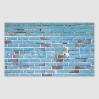 Sky Blue Vintage Brick Wall Texture Rectangular Sticker