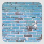Sky Blue Vintage Brick Wall Texture Square Stickers